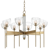 Hudson Valley 2808-AGB Davis LED 33 inch Aged Brass Chandelier Ceiling Light Hand-Blown Glass