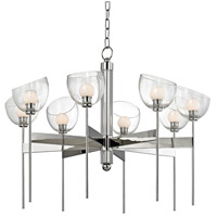 Davis LED 33 inch Polished Nickel Chandelier Ceiling Light, Hand-Blown Glass