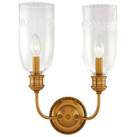Lafayette 2 Light 13 inch Aged Brass Wall Sconce Wall Light