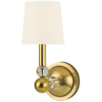 Hudson Valley Lighting Danville 1 Light Wall Sconce in Aged Brass with White Faux Silk Shade 3100-AGB-WS