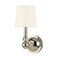 Hudson Valley Lighting Danville 1 Light Wall Sconce in Polished Nickel with White Faux Silk Shade 3100-PN-WS