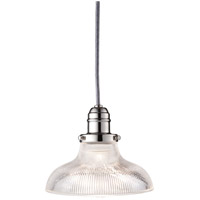 Hudson Valley Lighting Vintage 1 Light Pendant in Polished Nickel with Ribbed Clear Glass Shade 3101-PN-R08