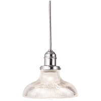 Hudson Valley Lighting Vintage 1 Light Pendant in Satin Nickel with Ribbed Clear Glass Shade 3101-SN-R08