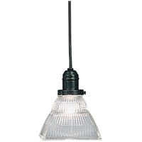 Hudson Valley Lighting Vintage 1 Light Pendant in Old Bronze with Ribbed Clear Glass Shade 3102-OB-45C