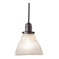 Hudson Valley Lighting Vintage 1 Light Pendant in Old Bronze with Ribbed Frosted Glass Shade 3102-OB-45F