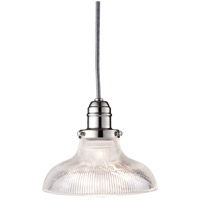 Vintage 1 Light 8 inch Polished Nickel Pendant Ceiling Light in Ribbed Clear Glass, R08