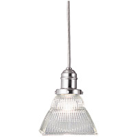 Vintage 1 Light 6 inch Satin Nickel Pendant Ceiling Light in Ribbed Clear Glass, 45C