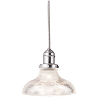 Hudson Valley Lighting Vintage 1 Light Pendant in Satin Nickel with Ribbed Clear Glass Shade 3102-SN-R08