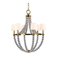 Danville 6 Light 30 inch Aged Brass Chandelier Ceiling Light in White Faux Silk