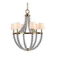 Hudson Valley 3116-AGB Danville 6 Light 30 inch Aged Brass Chandelier Ceiling Light in Eco Paper