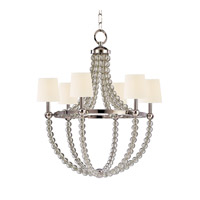 Danville 6 Light 30 inch Polished Nickel Chandelier Ceiling Light in White Faux Silk