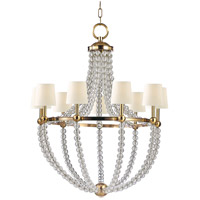 Danville 9 Light 36 inch Aged Brass Chandelier Ceiling Light in White Faux Silk