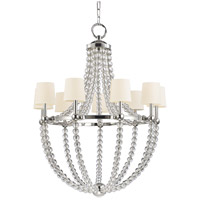 Danville 9 Light 36 inch Polished Nickel Chandelier Ceiling Light in White Faux Silk