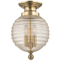 Coolidge 3 Light 10 inch Aged Brass Flush Mount Ceiling Light