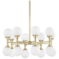 Astoria LED 27 inch Aged Brass Chandelier Ceiling Light, Opal Etched