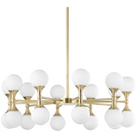 Astoria LED 36 inch Aged Brass Chandelier Ceiling Light, Opal Etched