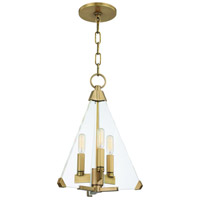 Triad 3 Light 12 inch Aged Brass Pendant Ceiling Light