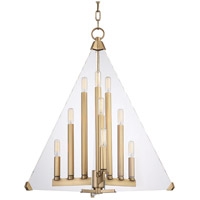 Triad 9 Light 24 inch Aged Brass Pendant Ceiling Light