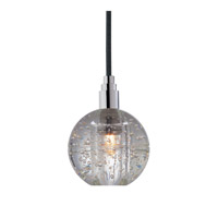 Hudson Valley Lighting Naples 1 Light Pendant in Polished Chrome with Black Cord with Effervescent Bubbles Shade 3506-PC-B-001