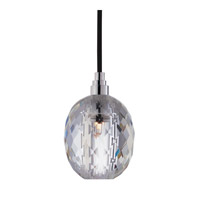 Hudson Valley Lighting Naples 1 Light Pendant in Polished Chrome with Black Cord with Clear Prismatic Shade 3506-PC-B-002