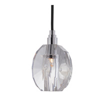Hudson Valley Lighting Naples 1 Light Pendant in Polished Chrome with Black Cord 3506-PC-B-005