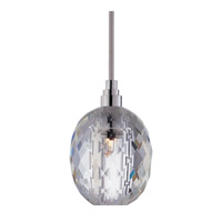 Hudson Valley Lighting Naples 1 Light Pendant in Polished Chrome with Silver Cord with Clear Prismatic Shade 3506-PC-S-002