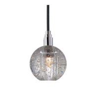Hudson Valley Lighting Naples 1 Light Pendant in Polished Chrome with Black Cord 3511-PC-B-001