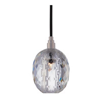 Hudson Valley Lighting Naples 1 Light Pendant in Satin Nickel with Black Cord with Clear Prismatic Shade 3511-SN-B-002