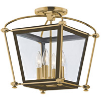 Hollis 4 Light 13 inch Aged Brass Semi Flush Ceiling Light