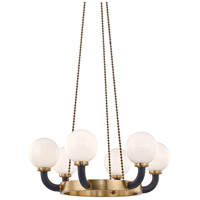 Hudson Valley 3636-AGB/BK Werner 6 Light 35 inch Aged Brass / Black Pendant Ceiling Light