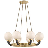 Hudson Valley 3646-AGB/BK Werner 8 Light 46 inch Aged Brass / Black Pendant Ceiling Light