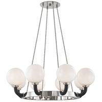 Hudson Valley 3646-PN/BK Werner 8 Light 46 inch Polished Nickel / Black Pendant Ceiling Light