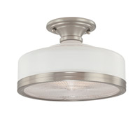 Hudson Valley Lighting Winslow 1 Light Semi Flush in White Satin Nickel 3811-WSN