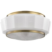 Odessa 3 Light 16 inch Aged Brass Flush Mount Ceiling Light