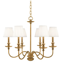 Menlo Park 6 Light 25 inch Aged Brass Chandelier Ceiling Light