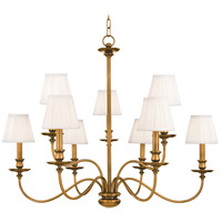 Menlo Park 9 Light 34 inch Aged Brass Chandelier Ceiling Light