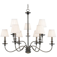 Menlo Park 9 Light 34 inch Antique Nickel Chandelier Ceiling Light