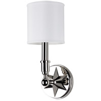 Hudson Valley Lighting Bethesda 1 Light Wall Sconce in Polished Nickel with White Faux Silk Shade 4081-PN-WS