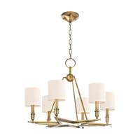 Hudson Valley Lighting Bethesda 6 Light Chandelier in Aged Brass with Eco Paper Shade 4086-AGB photo thumbnail