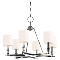 Hudson Valley Lighting Bethesda 6 Light Chandelier in Aged Silver with White Faux Silk Shade 4086-AS-WS