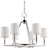 Hudson Valley 4086-PN-WS Bethesda 6 Light 31 inch Polished Nickel Chandelier Ceiling Light in White Faux Silk