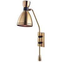Solaris 1 Light 7 inch Aged Brass Wall Sconce Wall Light, Aged Brass Metal
