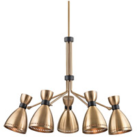 Solaris 5 Light 37 inch Aged Brass Chandelier Ceiling Light, Aged Brass Metal