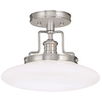 Beacon 1 Light 12 inch Satin Nickel Semi Flush Ceiling Light