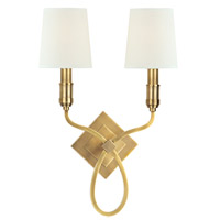 Westbury 2 Light 13 inch Aged Brass Wall Sconce Wall Light in White Faux Silk