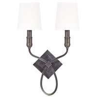 Hudson Valley Lighting Westbury 2 Light Wall Sconce in Old Bronze with White Faux Silk Shade 422-OB-WS