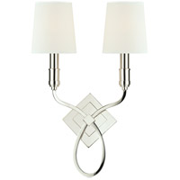 Hudson Valley Lighting Westbury 2 Light Wall Sconce in Polished Nickel with White Faux Silk Shade 422-PN-WS