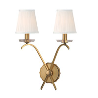 Clyde 2 Light 13 inch Aged Brass Wall Sconce Wall Light