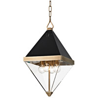 Coltrane 4 Light 10 inch Aged Brass and Black Pendant Ceiling Light