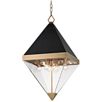 Coltrane 8 Light 15 inch Aged Brass and Black Pendant Ceiling Light